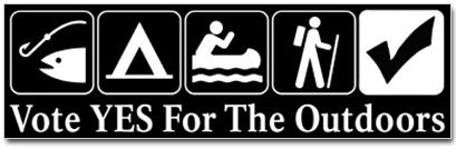 Vote YES For The Outdoors bumper sticker